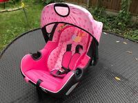 car seat in pink newborn