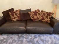 Brown Leather large sofa and armchair