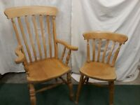 Solid pine kitchen carvers & chairs