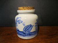 Handpainted Storage Container / Trinket Box Signed Animals in Countryside Fish, Snail, Frog.