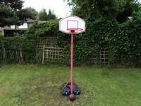 BASKETBALL NET HOOP BACKBOARD WITH ADJUSTABLE STAND SET ON WHEELS