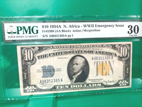 1934A NORTH AFRICA $10 (AA BLOCK) WWII EMERGENCY ISSUE  PMG 30 Q2LT