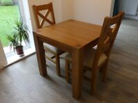 Oak Dining Table and Chairs, only 1 month old