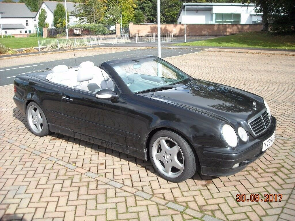 mercedes clk convertible in black with grey leather interior in thornhill dumfries and. Black Bedroom Furniture Sets. Home Design Ideas