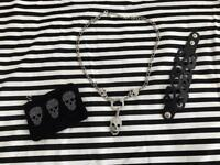 💀skull purse, skull necklace and gothic bracelet