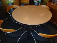 Pine and chrome effect circular dining table and 4 chairs - CHARITY