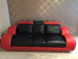 Modern Black & Red 3&2 Seater Sofa
