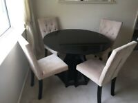 Next black gloss dining table with 4 chairs