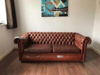 Vintage Shabby Chic Leather Chesterfield Sofa