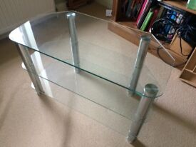 TV stand - chrome and glass