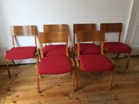 Vintage Wooden Upholstered Bent Plywood Stacking Chairs x 6 Mid Century - £35 EACH