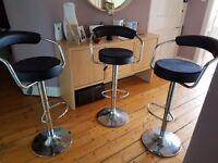 3 black bar stools for sale