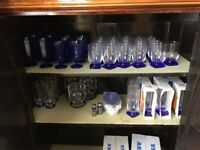 Full sets of art deco cobalt wine, beer and water glasses