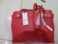 JASPER CONRAN - RED LEATHER HANDBAG - BRAND NEW - WITH TAGS