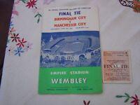 Rare 1956 Birmingham City V Manchester City football program.