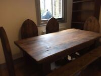 Handmade dining room table, chairs and bench made from reclaimed timber