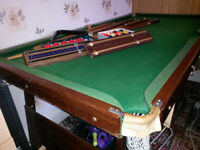 Complete Snooker& Pool set - half size table in fair condition.
