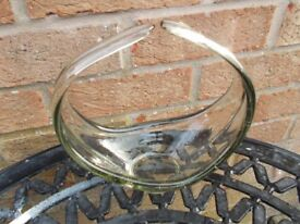 Vintage glass basket vase