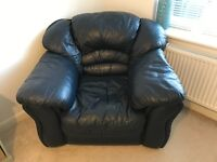 Navy blue leather arm chair