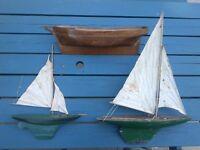 Vintage model sailing boats