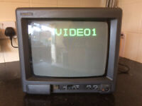 Goodmans compact colour television with remote. Retro