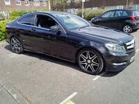 Mercedes C250 Coupe AMG Sport Plus Automatic 62 plate 2012/13 CDI Diesel, Blue efficiency, Sat Nav