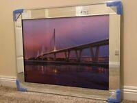 *NEW* Purple Sky Forth Road Bridges Glass Picture Mirror Framed Liquid Art (95x75cm)