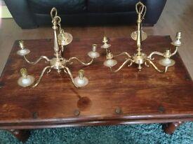 2 John lewis 5 light brass chandeliers