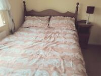 Double bed & mattress - solid pine, wooden slats, excellent condition