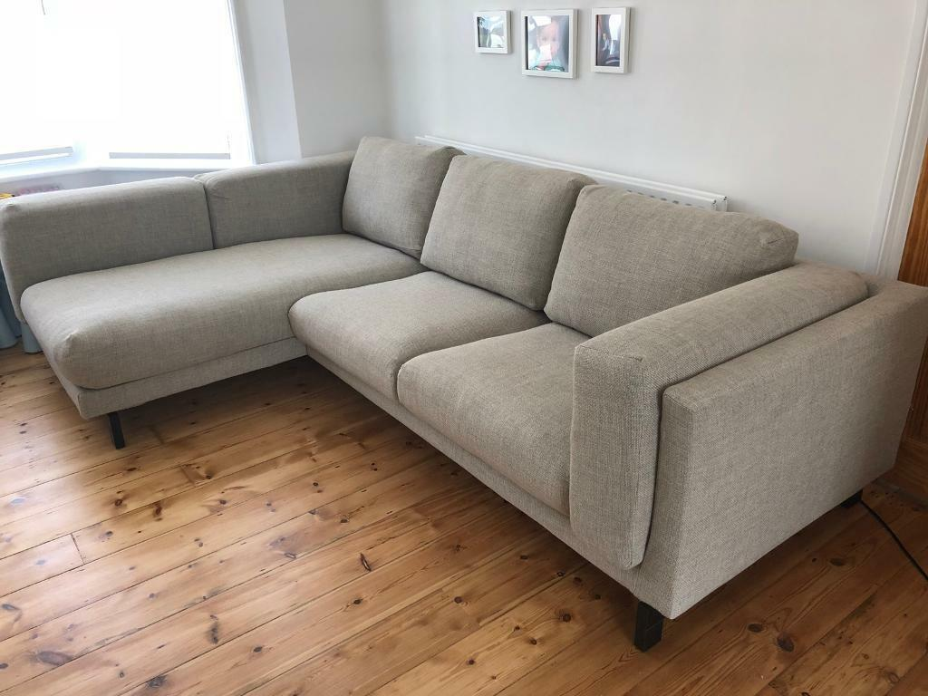 family l shape 3 seat sofa light grey ikea nockeby in twickenham london gumtree. Black Bedroom Furniture Sets. Home Design Ideas