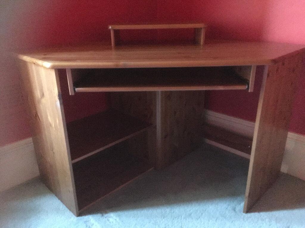 Pine Corner Desk Solid Wood Antique Colour