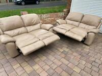 Cream leather manual recliner 2x2 seater sofas
