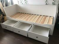 White day-bed frame with 3 drawers