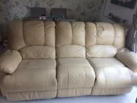 Cream leather recliner settee FREE