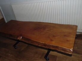 solid plank of wood rustic pine coffee table tree trunk
