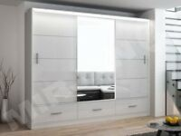 🔵⚫AMAZING OFFER🔵⚫NEW HIGH GLOSS SLIDING DOOR MARSYLA WARDROBE WITH LED LIGHT AND DRAWERS