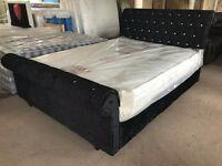 BLACK CRUSHED VELVET FABRIC KING SIZE SLEIGH BED FRAME SCROLL TOP LOW END CHESTERFIELD DIAMANTE 5FT