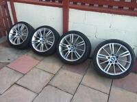 "Bmw 18"" mv3 M Sport alloy wheels & tyres - alloys rims e90 e91 e92 3 series"