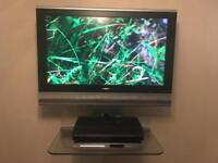 "Sharp Aquos 32"" LCD TV with Glass wall bracket and shelf"