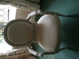 Two lovely upholstered carved chairs, perfect for bedrooms/bathrooms