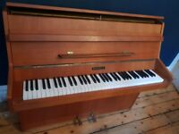 Kemble Upright Piano in Teak. Compact, 6 Octaves, 73 keys. ***REDUCED***