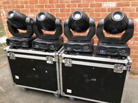 4x Acme Eliminator 250s Moving Heads with flight cases