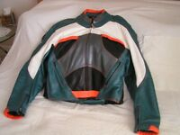 Motor-cyclists Hein Gericke Pro-Sports leather jacket, with protector pads.