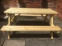 BRAND NEW GARDEN TABLE & BENCHES