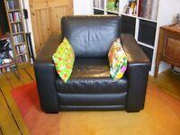 Beautiful big black leather armchair