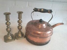 Brass Candle Holders and Copper Kettle
