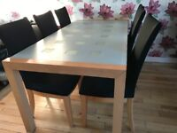 Table and 6 chairs (+Extra black chairs covers)