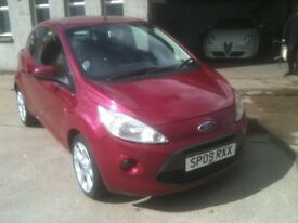 09 PLATE FORD KA 1.2 ZETEC 68000MILES HOT MAGENTA RED £30 ROAD TAX £3500