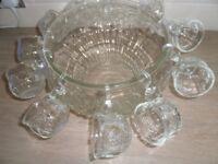 Large Vintage Punch bowl, hooks and glasses