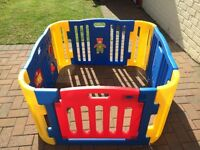Childrens plastic play pen. Blue, yellow and red. Good condition